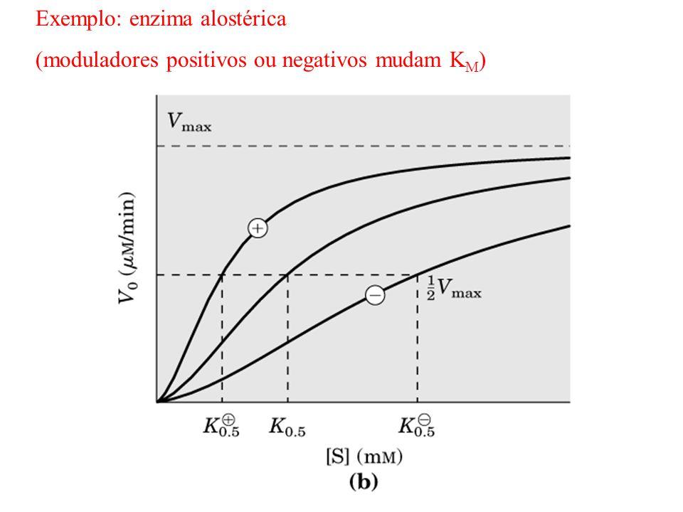Exemplo: enzima alostérica (moduladores positivos ou negativos mudam K M )