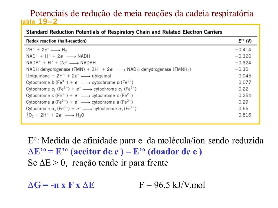 E o : Medida de afinidade para e - da molécula/ion sendo reduzida E o = E o (aceitor de e - ) – E o (doador de e - ) Se E > 0, reação tende ir para fr