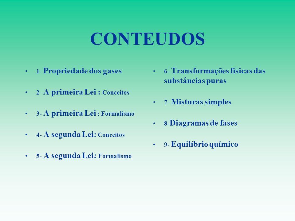 CONTEUDOS 1- Propriedade dos gases 2- A primeira Lei : Conceitos 3- A primeira Lei : Formalismo 4- A segunda Lei: Conceitos 5- A segunda Lei: Formalis