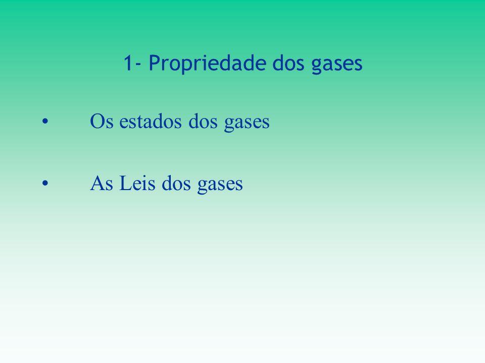 1- Propriedade dos gases Os estados dos gases As Leis dos gases