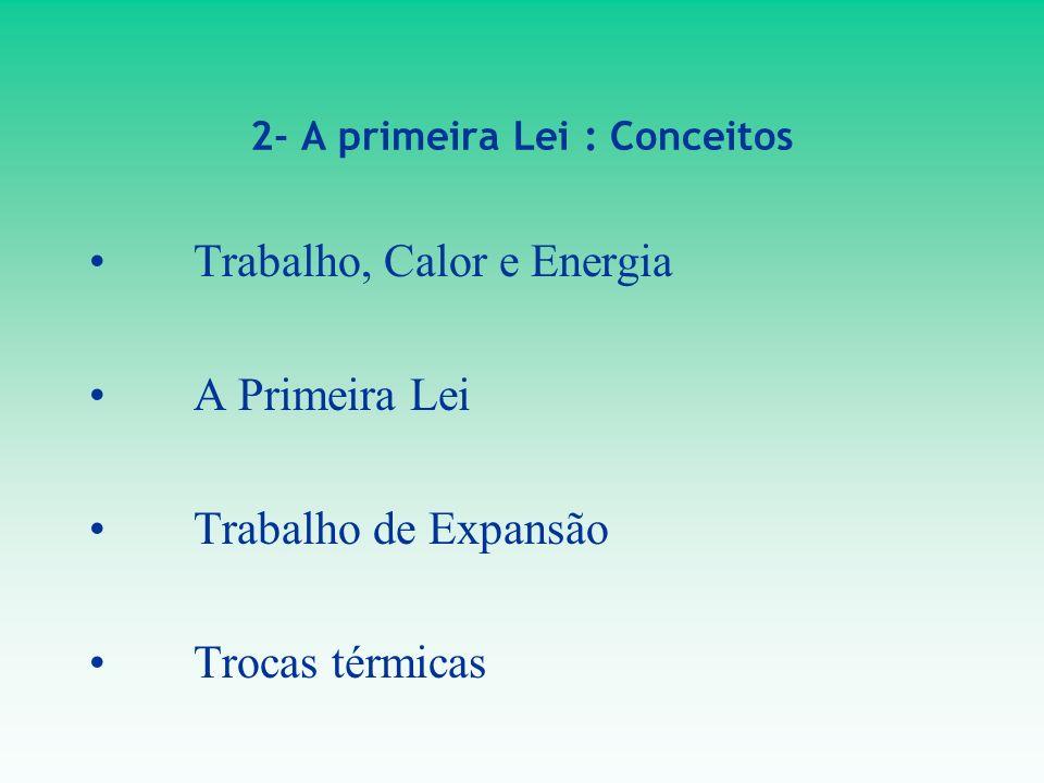 2- A primeira Lei : Conceitos Trabalho, Calor e Energia A Primeira Lei Trabalho de Expansão Trocas térmicas