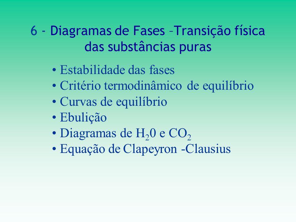 6 - Diagramas de Fases –Transição física das substâncias puras Estabilidade das fases Critério termodinâmico de equilíbrio Curvas de equilíbrio Ebuliç