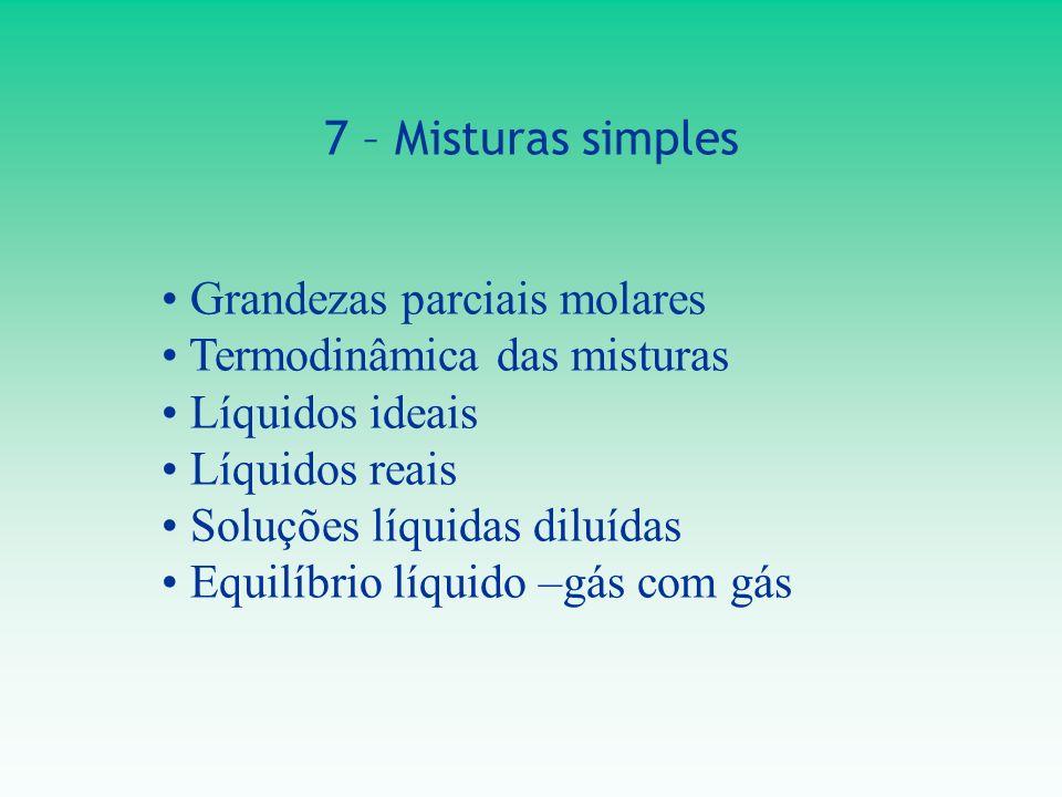 7 – Misturas simples Grandezas parciais molares Termodinâmica das misturas Líquidos ideais Líquidos reais Soluções líquidas diluídas Equilíbrio líquid