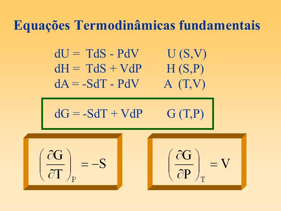 Equações Termodinâmicas fundamentais dU = TdS - PdV U (S,V) dH = TdS + VdP H (S,P) dA = -SdT - PdV A (T,V) dG = -SdT + VdPG (T,P)