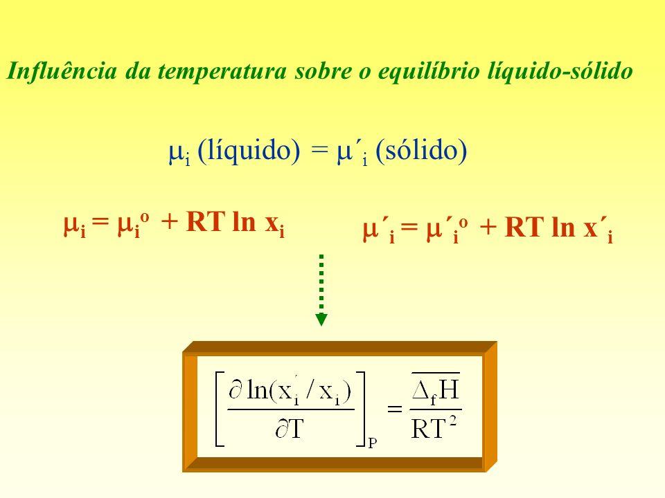 Influência da temperatura sobre o equilíbrio líquido-sólido i (líquido) = ´ i (sólido) i = i o + RT ln x i ´ i = ´ i o + RT ln x´ i