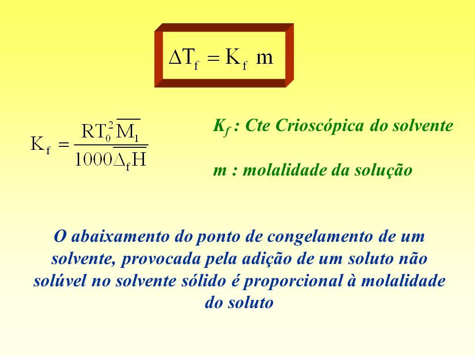 O abaixamento do ponto de congelamento de um solvente, provocada pela adição de um soluto não solúvel no solvente sólido é proporcional à molalidade d
