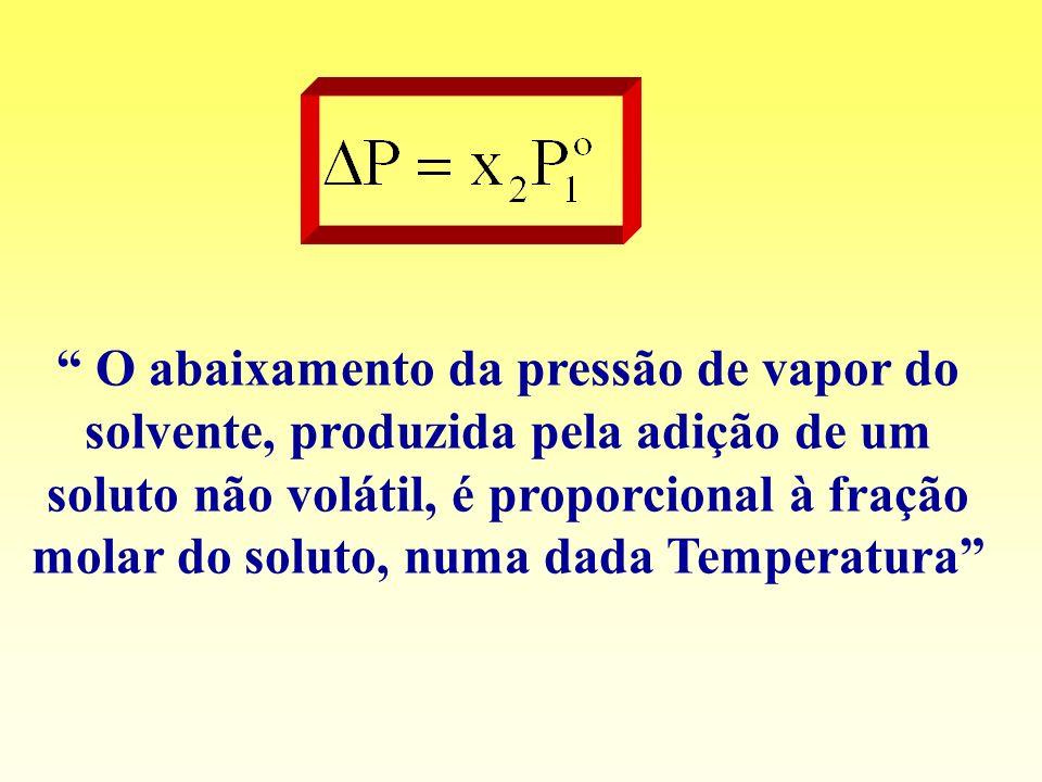 O abaixamento da pressão de vapor do solvente, produzida pela adição de um soluto não volátil, é proporcional à fração molar do soluto, numa dada Temp