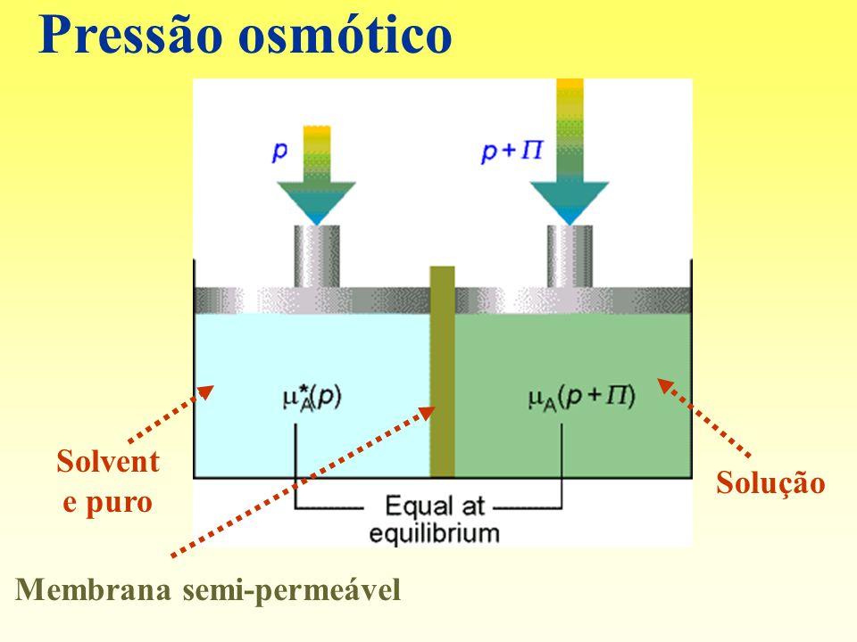 Pressão osmótico Solvent e puro Solução Membrana semi-permeável
