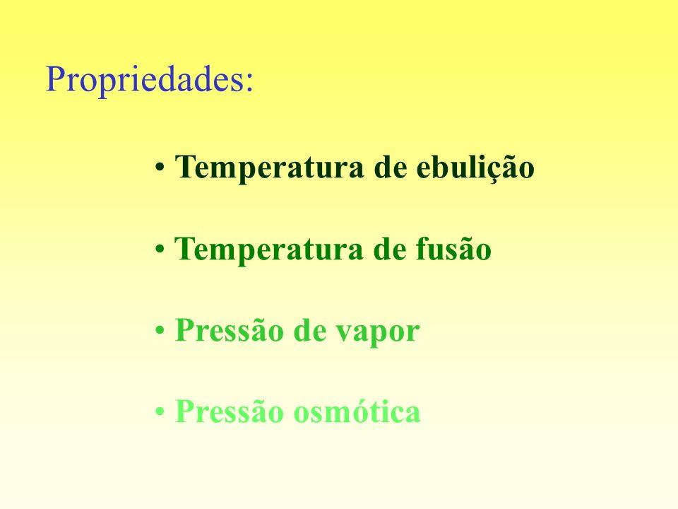 Temperatura de ebulição Temperatura de fusão Pressão de vapor Pressão osmótica Propriedades: