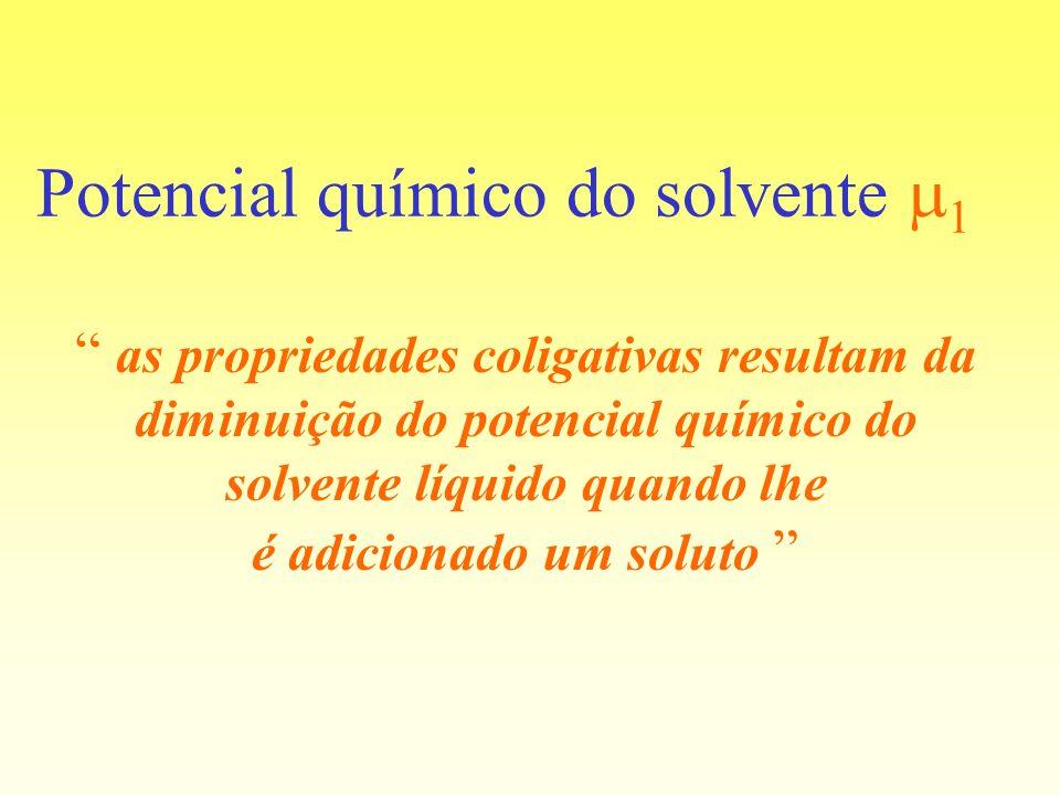 Potencial químico do solvente 1 as propriedades coligativas resultam da diminuição do potencial químico do solvente líquido quando lhe é adicionado um