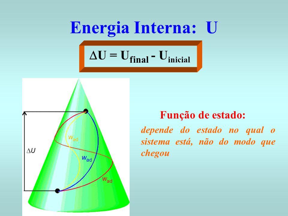 Energia Interna: U Função de estado: depende do estado no qual o sistema está, não do modo que chegou U = U final - U inicial