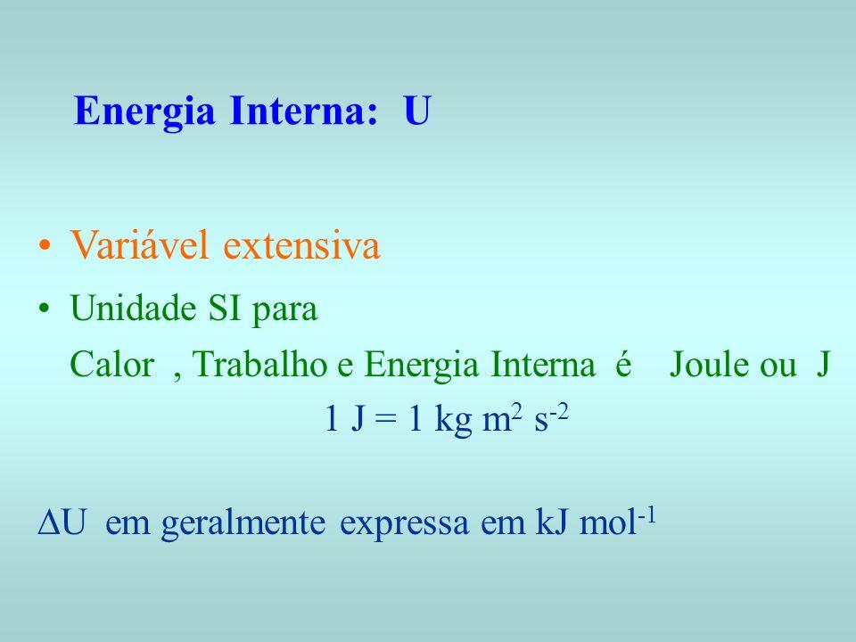 Variável extensiva Unidade SI para Calor, Trabalho e Energia Interna é Joule ou J 1 J = 1 kg m 2 s -2 U em geralmente expressa em kJ mol -1 Energia In