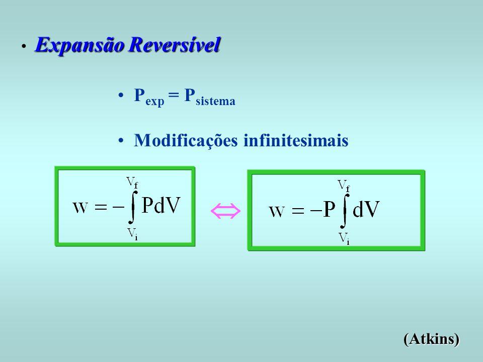 Expansão Reversível Expansão Reversível P exp = P sistema Modificações infinitesimais (Atkins)