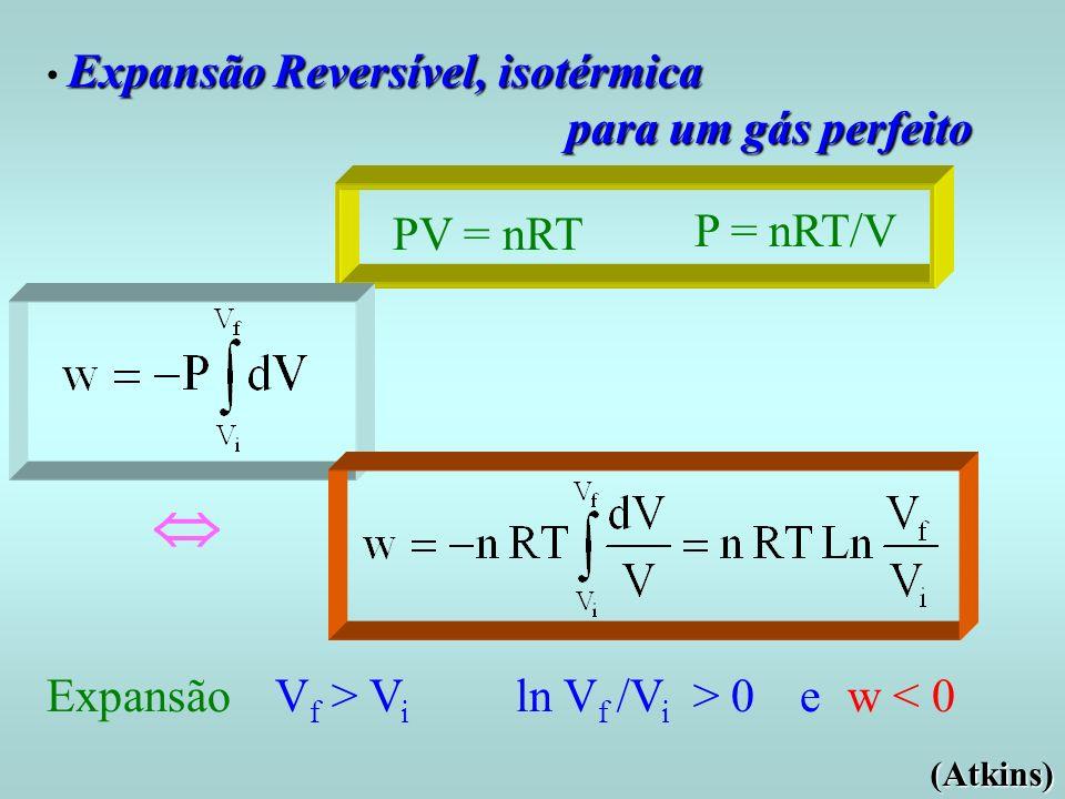 Expansão Reversível, isotérmica Expansão Reversível, isotérmica para um gás perfeito PV = nRT P = nRT/V Expansão V f > V i ln V f /V i > 0 e w < 0 (At