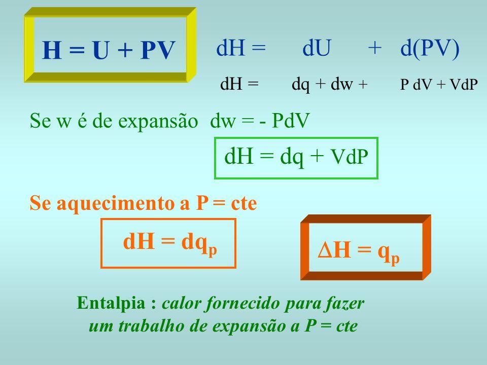 H = U + PV dH = dU + d(PV) dH = dq + dw + P dV + VdP Se w é de expansão dw = - PdV dH = dq + VdP Se aquecimento a P = cte dH = dq p H = q p Entalpia :