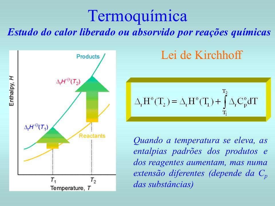Termoquímica Estudo do calor liberado ou absorvido por reações químicas Lei de Kirchhoff Quando a temperatura se eleva, as entalpias padrões dos produ
