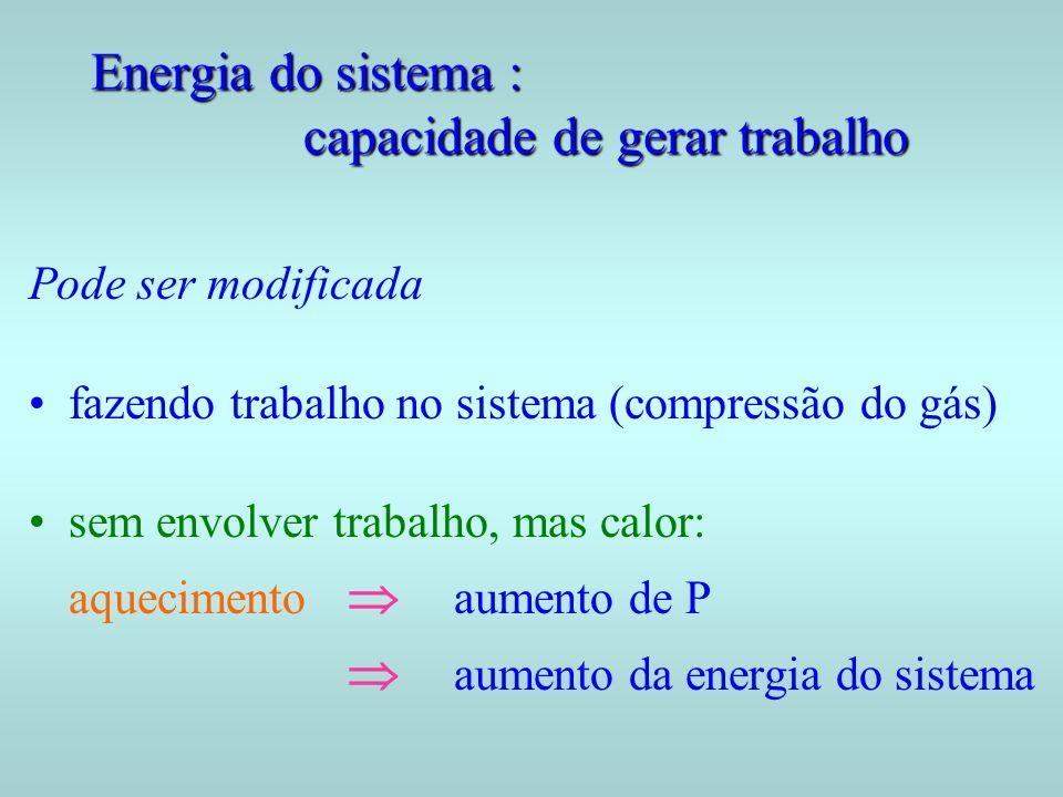 Energia do sistema : capacidade de gerar trabalho Pode ser modificada fazendo trabalho no sistema (compressão do gás) sem envolver trabalho, mas calor