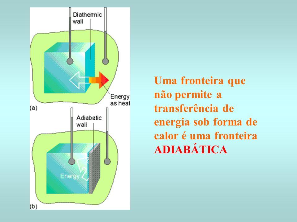 c) Processo endotérmico : o sistema absorve energia na forma de calor d) Processo exotémico : o sistema cede energia na forma de calor Fronteiras adiabáticas a) processo endotérmico T b) processo exotérmico T Fronteiras diatérmicas T= Cte