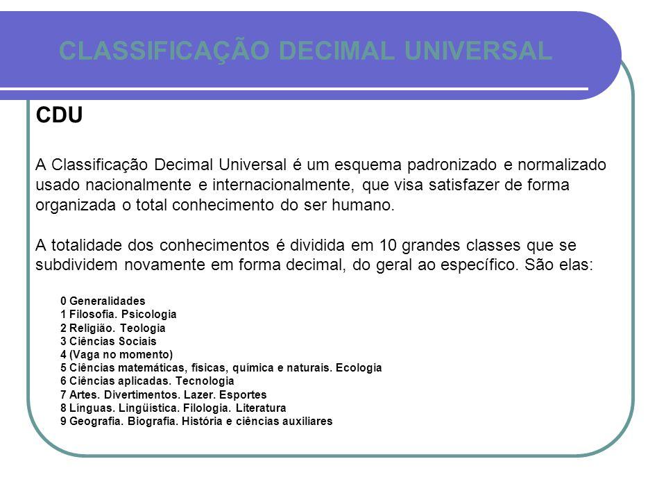 CLASSIFICAÇÃO DECIMAL UNIVERSAL CDU A Classificação Decimal Universal é um esquema padronizado e normalizado usado nacionalmente e internacionalmente,