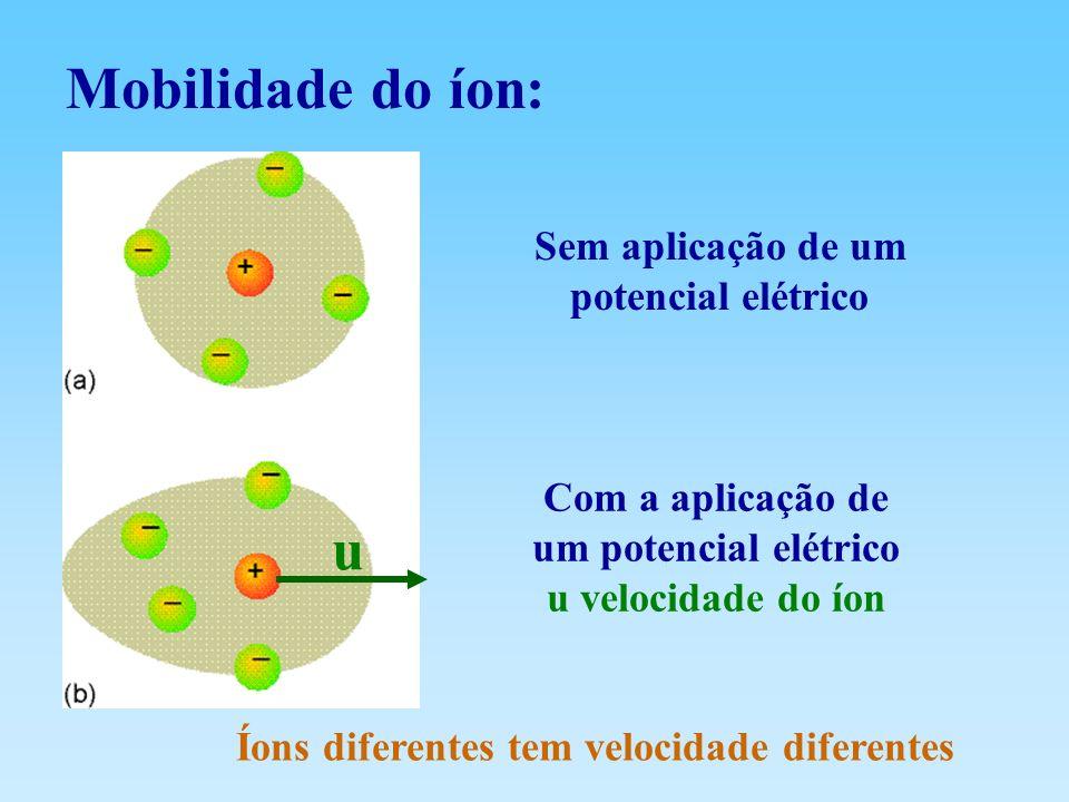 Mobilidade do íon: Sem aplicação de um potencial elétrico Com a aplicação de um potencial elétrico u velocidade do íon u Íons diferentes tem velocidad