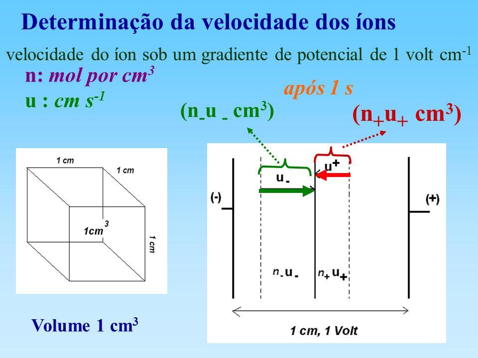 Determinação da velocidade dos íons Volume 1 cm 3 velocidade do íon sob um gradiente de potencial de 1 volt cm -1 n: mol por cm 3 u : cm s -1 após 1 s