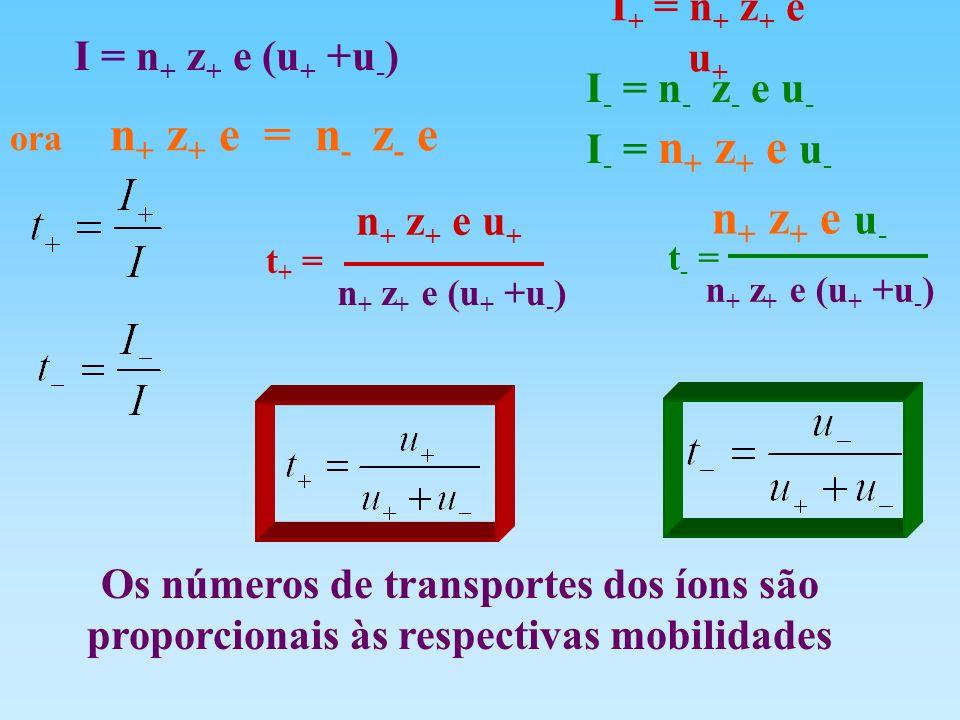 Os números de transportes dos íons são proporcionais às respectivas mobilidades I = n + z + e (u + +u - ) I + = n + z + e u + I - = n - z - e u - t +