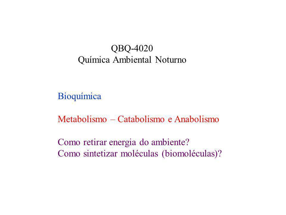 Bioquímica Metabolismo – Catabolismo e Anabolismo Como retirar energia do ambiente? Como sintetizar moléculas (biomoléculas)? QBQ-4020 Química Ambient