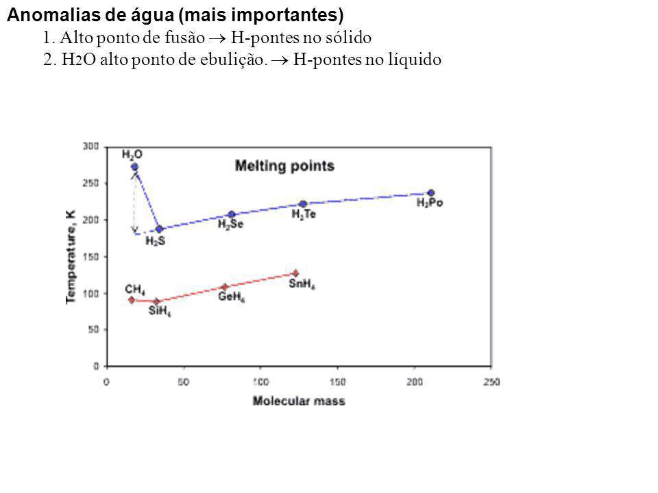 Anomalias de água (mais importantes) 1. Alto ponto de fusão H-pontes no sólido 2. H 2 O alto ponto de ebulição. H-pontes no líquido