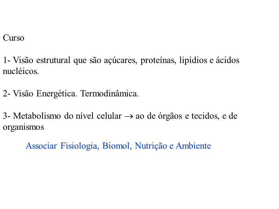 Curso 1- Visão estrutural que são açúcares, proteínas, lipídios e ácidos nucléicos. 2- Visão Energética. Termodinâmica. 3- Metabolismo do nível celula