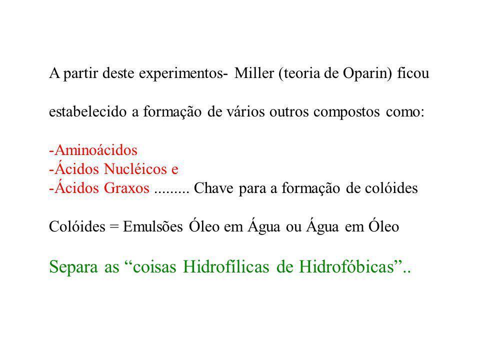A partir deste experimentos- Miller (teoria de Oparin) ficou estabelecido a formação de vários outros compostos como: -Aminoácidos -Ácidos Nucléicos e
