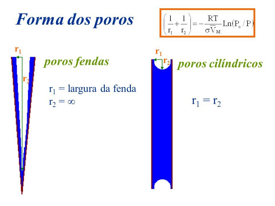 Forma dos poros poros fendas r 1 = largura da fenda r 2 = r 1 = r 2 r1r1 r1r1 r2r2 r2r2 poros cilíndricos