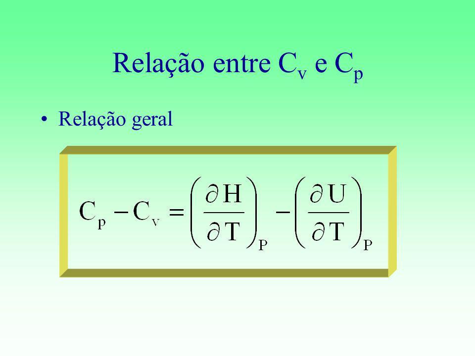 Relação entre C v e C p Relação geral