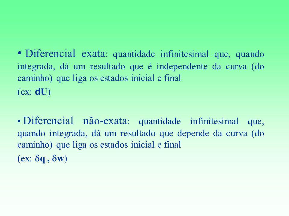 Diferencial exata : quantidade infinitesimal que, quando integrada, dá um resultado que é independente da curva (do caminho) que liga os estados inici