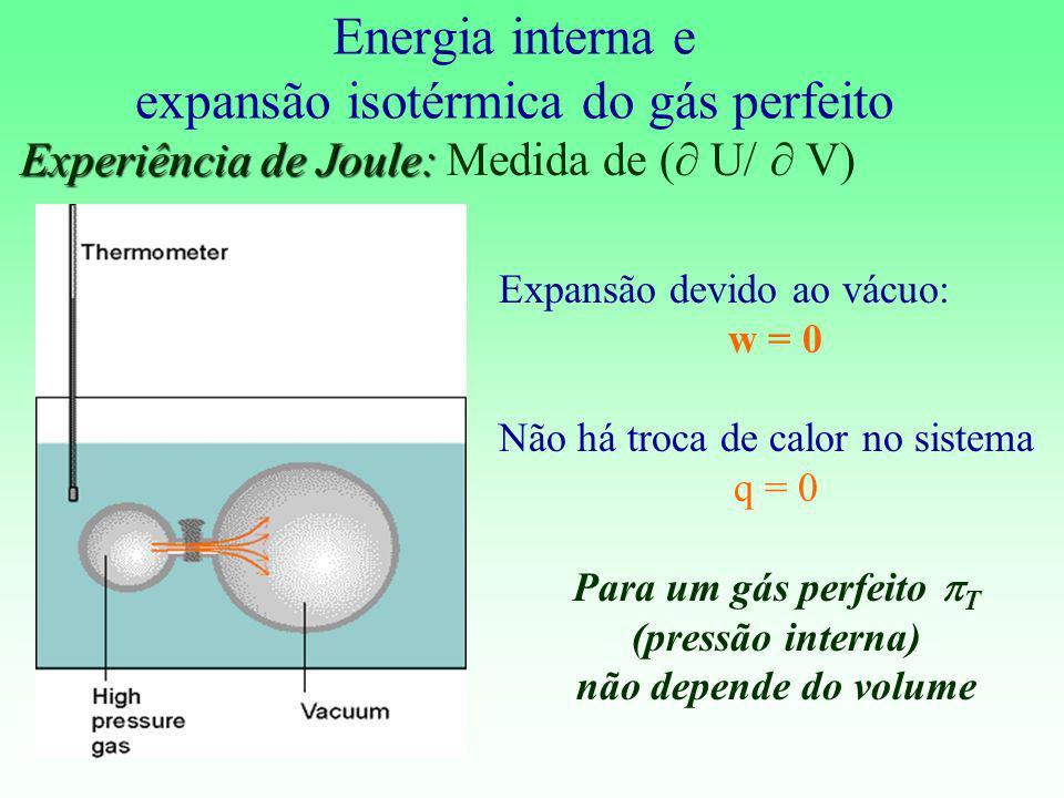 Energia interna e expansão isotérmica do gás perfeito Experiência de Joule: Experiência de Joule: Medida de ( U/ V) Expansão devido ao vácuo: w = 0 Nã