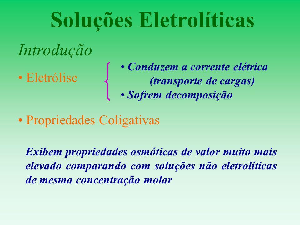 Soluções Eletrolíticas Introdução Propriedades Coligativas Exibem propriedades osmóticas de valor muito mais elevado comparando com soluções não eletr