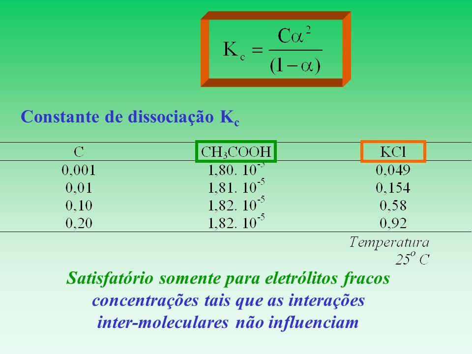 Constante de dissociação K c Satisfatório somente para eletrólitos fracos concentrações tais que as interações inter-moleculares não influenciam