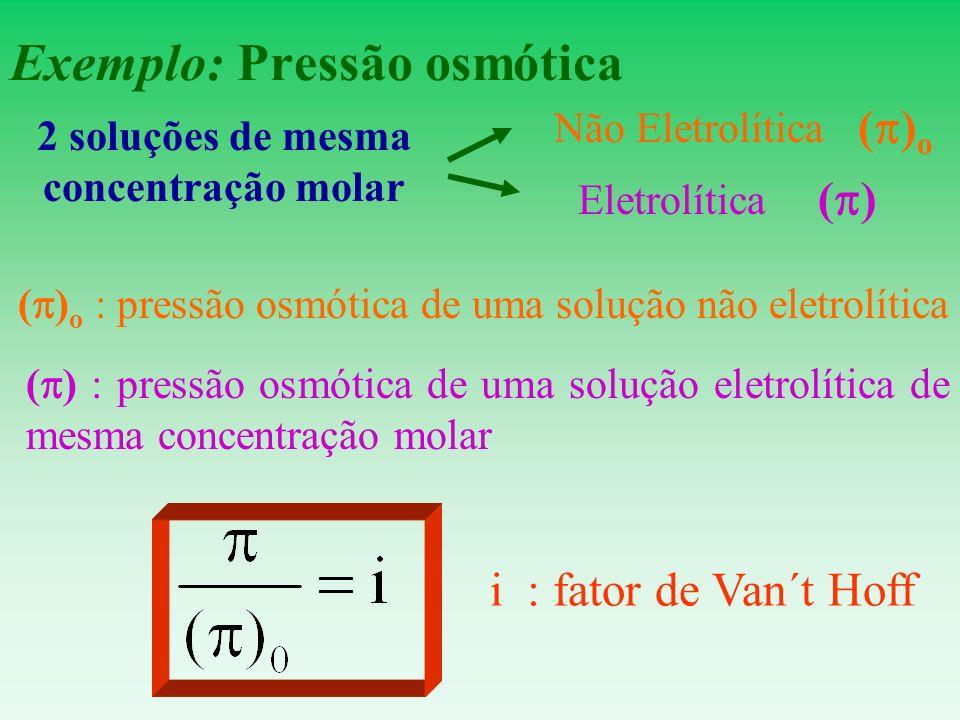 Exemplo: Pressão osmótica ( ) o : pressão osmótica de uma solução não eletrolítica ( ) : pressão osmótica de uma solução eletrolítica de mesma concent