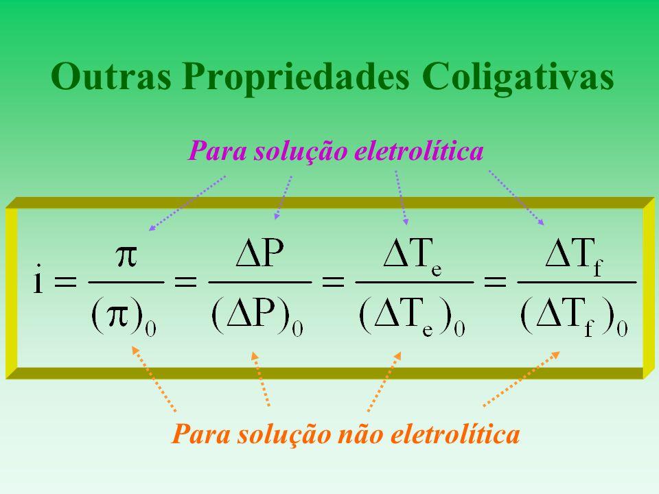 Outras Propriedades Coligativas Para solução não eletrolítica Para solução eletrolítica