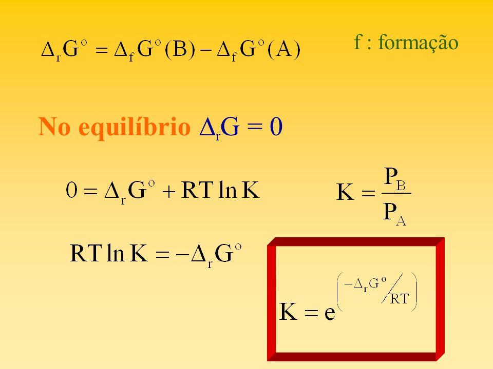 f : formação No equilíbrio r G = 0