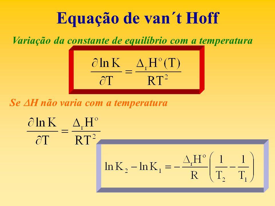 Equação de van´t Hoff Variação da constante de equilíbrio com a temperatura Se H não varia com a temperatura