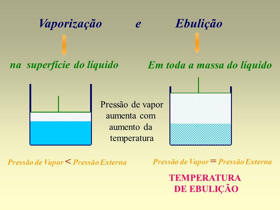 Vaporização e Ebulição na superfície do líquido Em toda a massa do líquido Pressão de Vapor = Pressão Externa Pressão de Vapor < Pressão Externa TEMPE