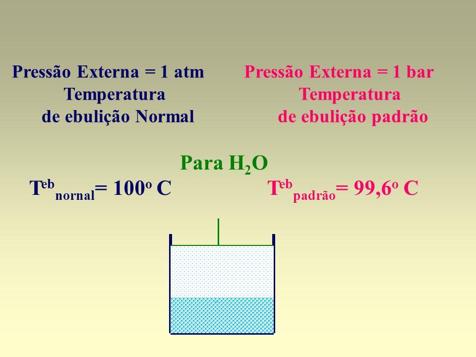Pressão Externa = 1 atm Temperatura de ebulição Normal Pressão Externa = 1 bar Temperatura de ebulição padrão Para H 2 O T eb nornal = 100 o C T eb pa