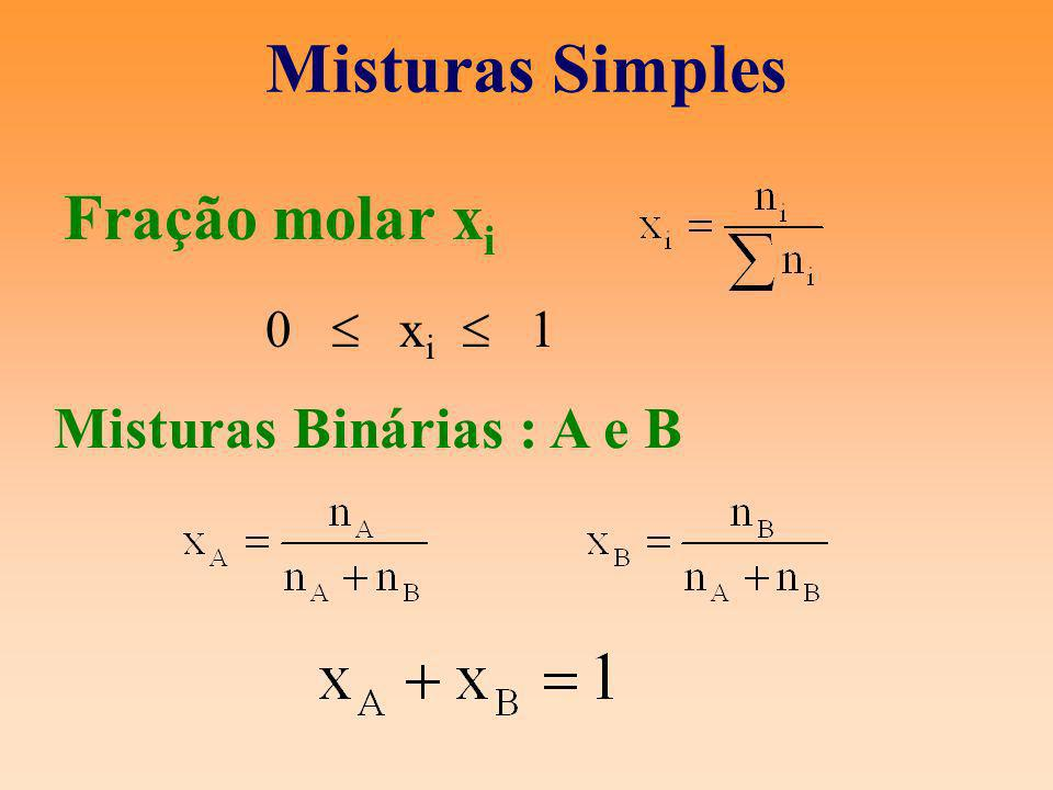 Misturas Simples Misturas Binárias : A e B Fração molar x i 0 x i 1