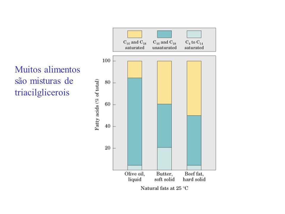 Muitos alimentos são misturas de triacilglicerois