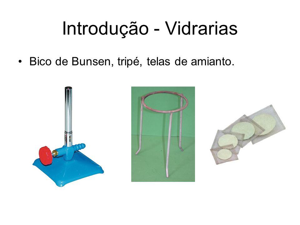 Bico de Bunsen, tripé, telas de amianto. Introdução - Vidrarias