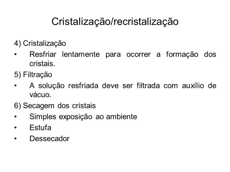4) Cristalização Resfriar lentamente para ocorrer a formação dos cristais. 5) Filtração A solução resfriada deve ser filtrada com auxílio de vácuo. 6)