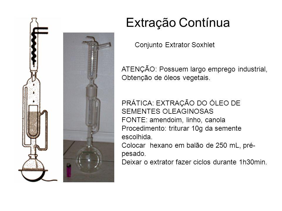 Extração Contínua Conjunto Extrator Soxhlet ATENÇÃO: Possuem largo emprego industrial, Obtenção de óleos vegetais. PRÁTICA: EXTRAÇÃO DO ÓLEO DE SEMENT