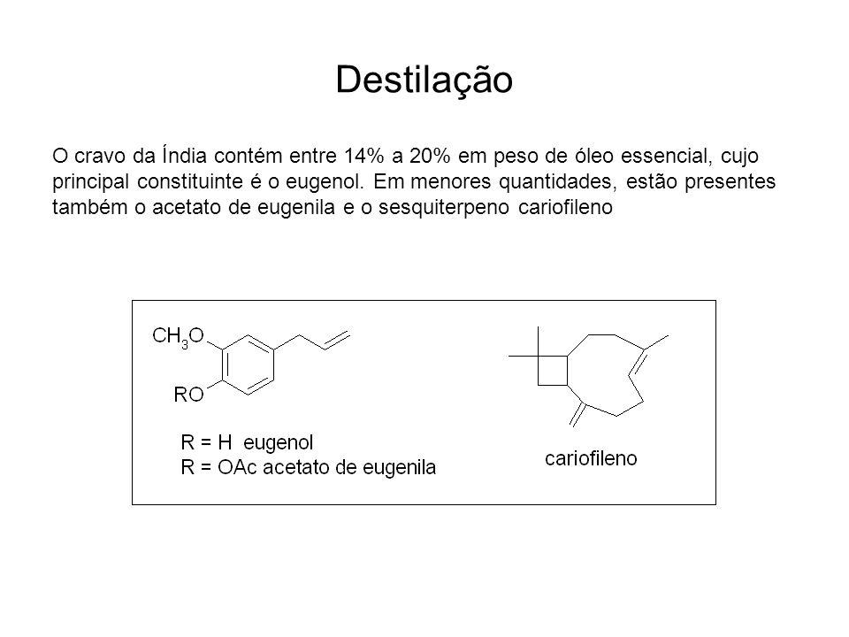 Destilação O cravo da Índia contém entre 14% a 20% em peso de óleo essencial, cujo principal constituinte é o eugenol. Em menores quantidades, estão p