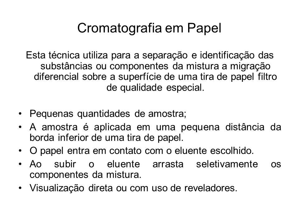 Cromatografia em Papel Esta técnica utiliza para a separação e identificação das substâncias ou componentes da mistura a migração diferencial sobre a