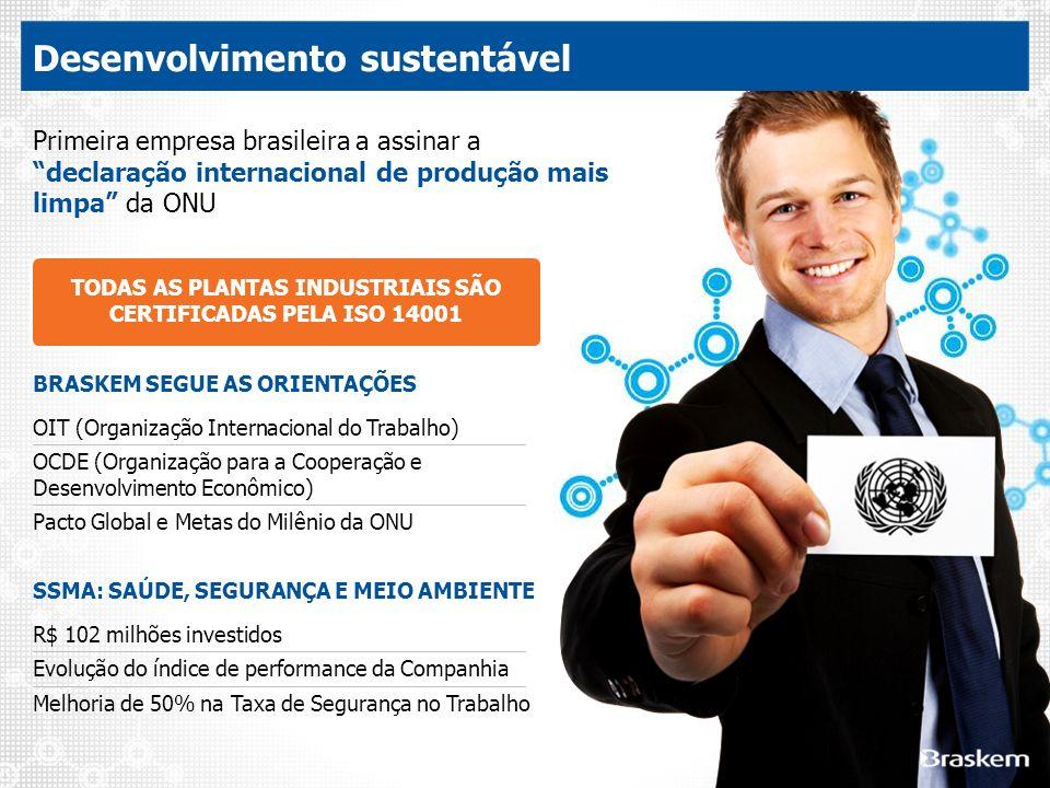 Primeira empresa brasileira a assinar a declaração internacional de produção mais limpa da ONU TODAS AS PLANTAS INDUSTRIAIS SÃO CERTIFICADAS PELA ISO